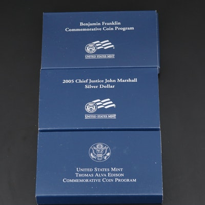 Three U.S. Mint Commemorative Proof Silver Dollars, 2004–2006