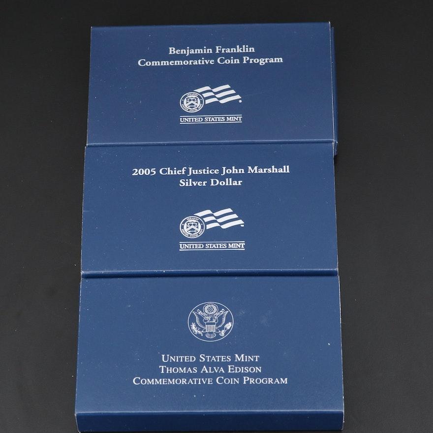 Three U.S. Mint Commemorative Proof Silver Dollars, 2004–2006