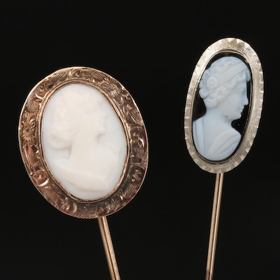 Vintage 10K Stick Pins Featuring Onyx and White Agate