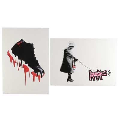 Death NYC Pop Art Offset Prints of Air Jordan and Queen Elizabeth, 2020