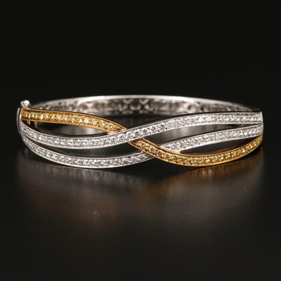Simon G. 18K Two Tone 2.14 CTW Diamond Crisscross Bangle