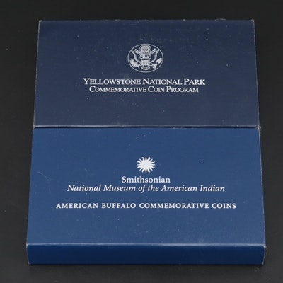 American Buffalo and Yellowstone National Park Silver Proof Dollar Coins