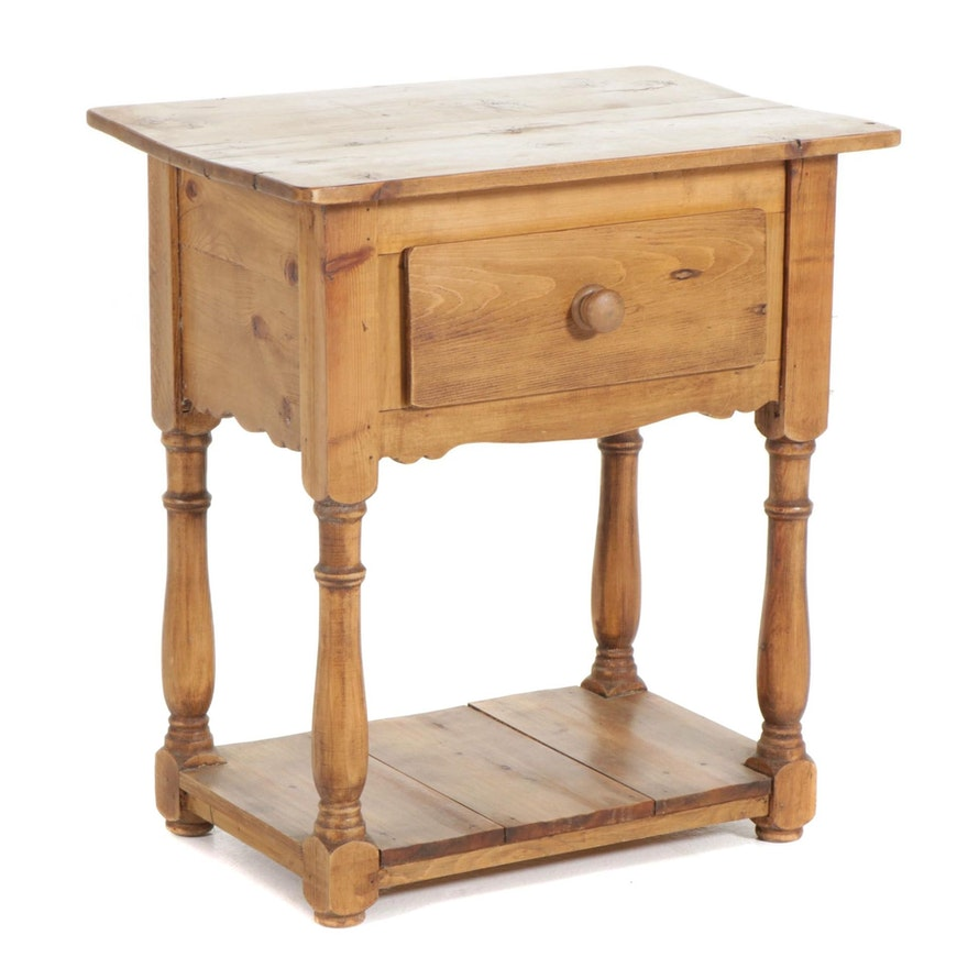 American Primitive Style Pine Tiered Side Table