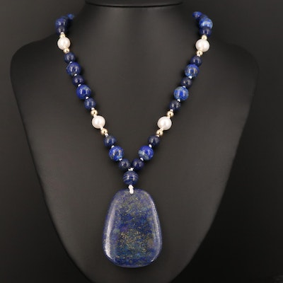 Sterling Silver Lapis Lazuli and Pearl Necklace