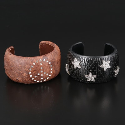 Ostrich Skin, Leather, and Topaz Star and Peace Sign Cuffs