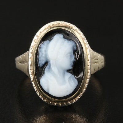 Vintage 14K Onyx Cameo Ring