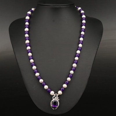 Sterling Silver Amethyst, Pearl and Zircon Necklace