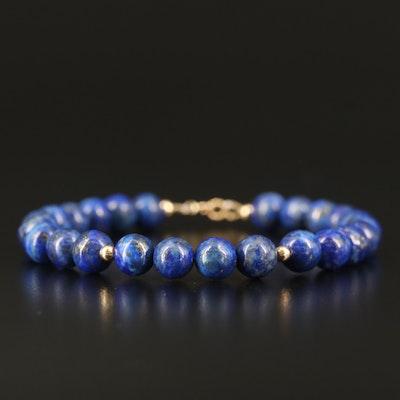 14K Lapis Lazuli Bead Bracelet