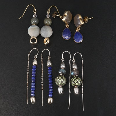 Sterling Earrings Featuring Lapis Lazuli, Agate and Jasper