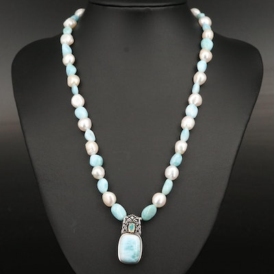 Sterling Larimar, Opal and Pearl Necklace