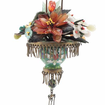 Chinese Semi-Precious Stone Floral Arrangement in Lotus Cloisonné Pot