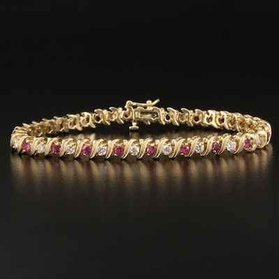 14K 1.50 CTW Diamond and Ruby Tennis Bracelet