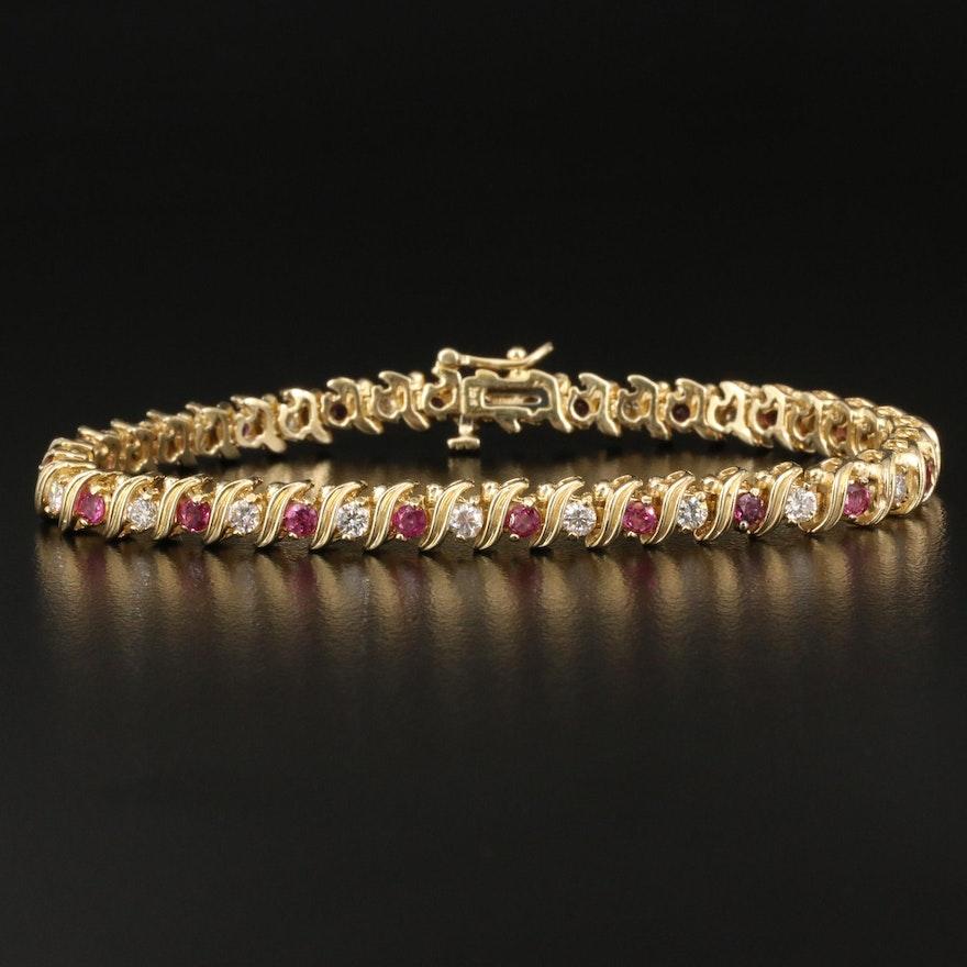 14K 1.50 CTW Diamond and Ruby Tennis Bracelet