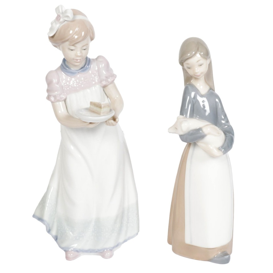 """Lladró """"Happy Birthday"""" and """"Girl with Pig"""" Porcelain Figurines"""