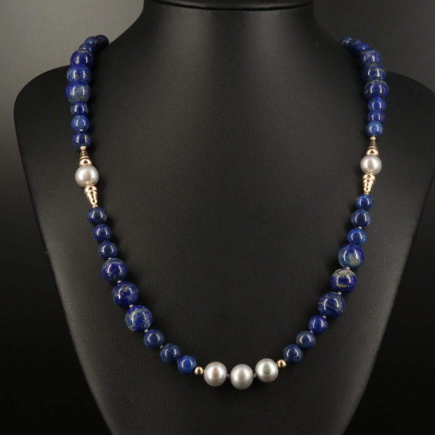 Lapis Lazuli and Pearl Necklace with 14K Clasp