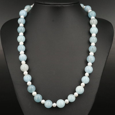 Beryl and Pearl Necklace with Sterling Clasp