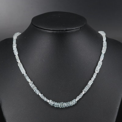 14K Aquamarine and Diamond Necklace