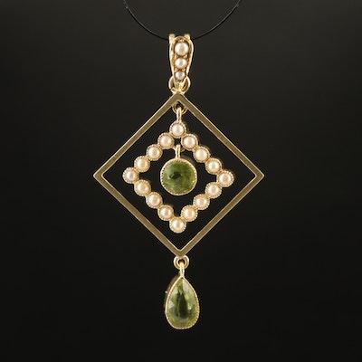 Early 1900s 15K Peridot and Seed Pearl Geometric Pendant