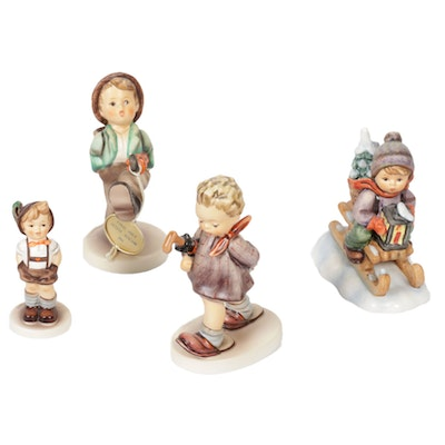 "Goebel ""Happy Traveller,"" ""The Professor,"" and Other Porcelain Hummel Figurines"
