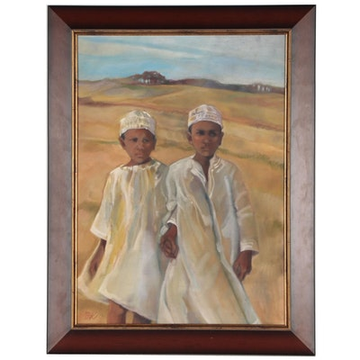 Oil Painting of Two Boys in Traditional Middle Eastern Dress