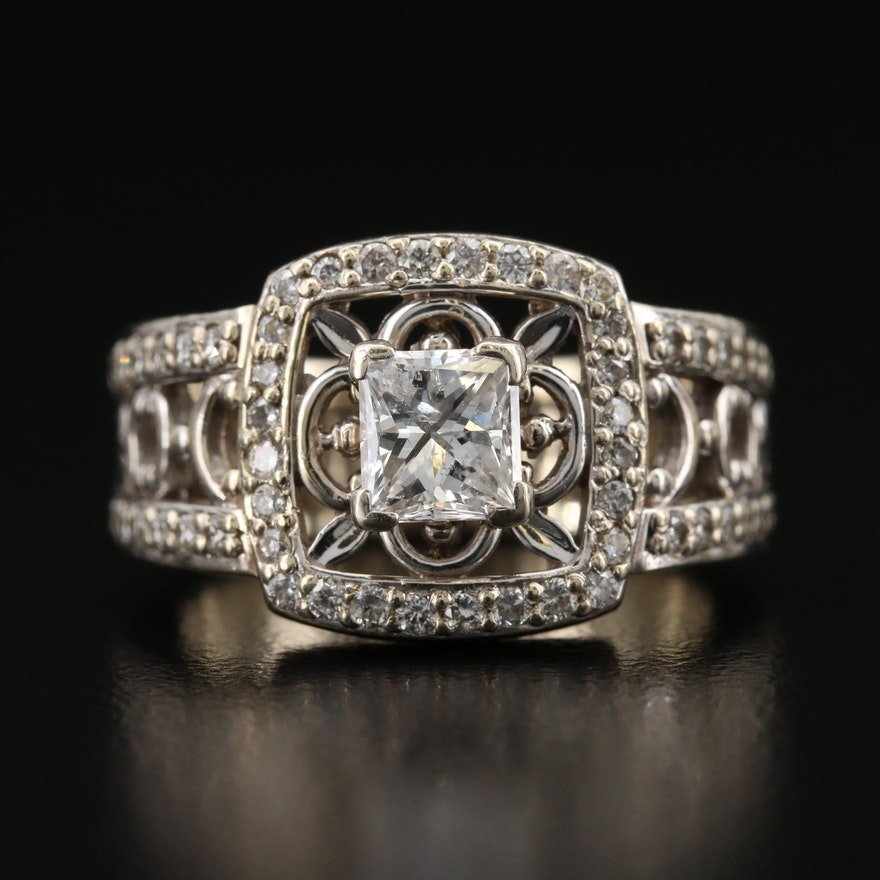 14K 1.57 CTW Diamond Openwork Ring