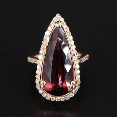 14K 11.03 CT Rubellite Tourmaline and Diamond Ring