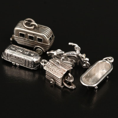 Vintage Sterling Charm Selection Including Motorcycle and Streamline Trailer