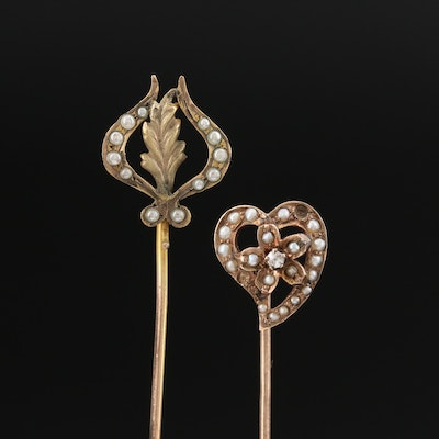 Antique Diamond and Pearl Heart Stick Pin with Faux Pearl Foliate Stick Pin