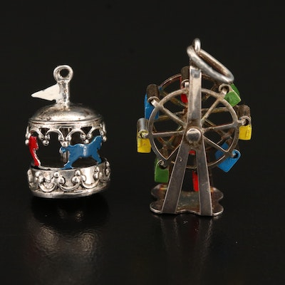 Vintage Sterling Ferris Wheel and Carousel Charms