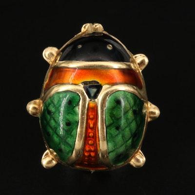 Vintage Italian 18K Enamel Beetle Brooch