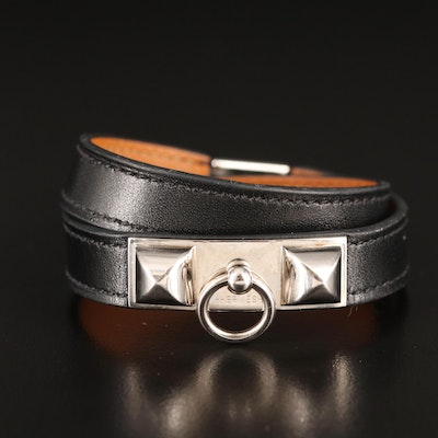 Hermès Rivale Double Tour Leather Bracelet
