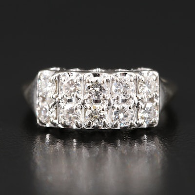 14K Double Row Diamond Ring