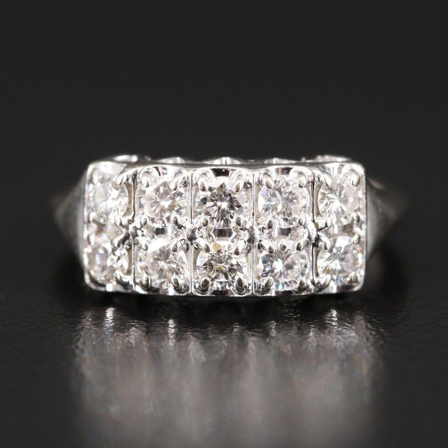 14K Double Row Diamond Ring