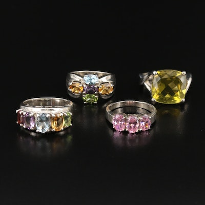 Sterling Rings with Topaz and Additional Gemstones