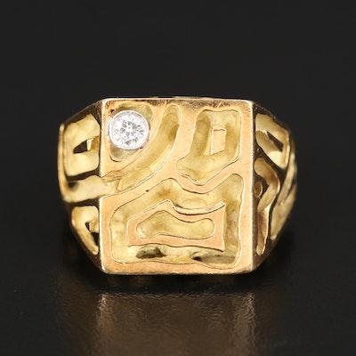 18K Dimensional Diamond Ring with Palladium Bezel