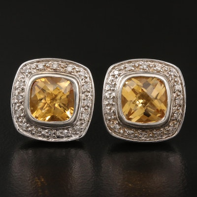 Sterling Citrine and Diamond Button Earrings