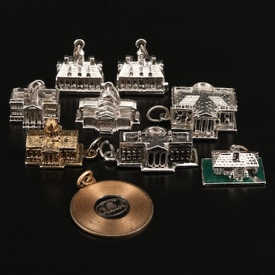 Vintage Destination Charms Featuring Sterling Silver and Enamel