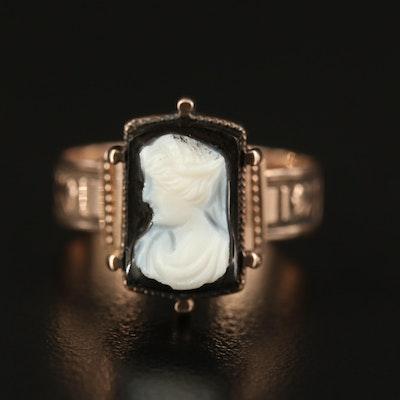 Victorian 9K Onyx Cameo Ring