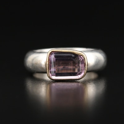 Sterling Silver Amethyst Ring with 14K Setting