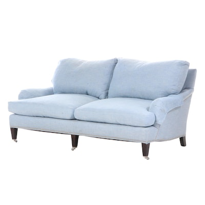 Lee Contemporary Custom Linen Upholstered Sofa with Brushed Nickel Nailhead