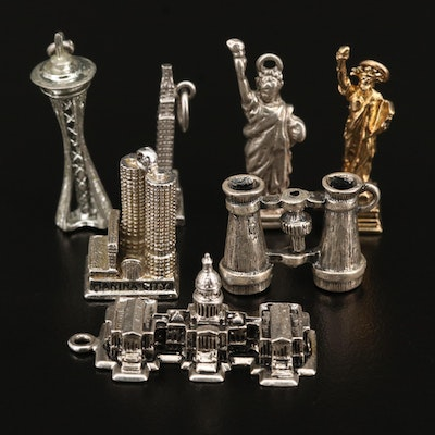 Charms Including Stanhope, Statue of Liberty, Capital Building and Sterling