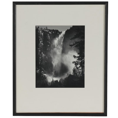 "Ansel Adams Reprint Silver Gelatin Photograph ""Bridalveil Fall"""