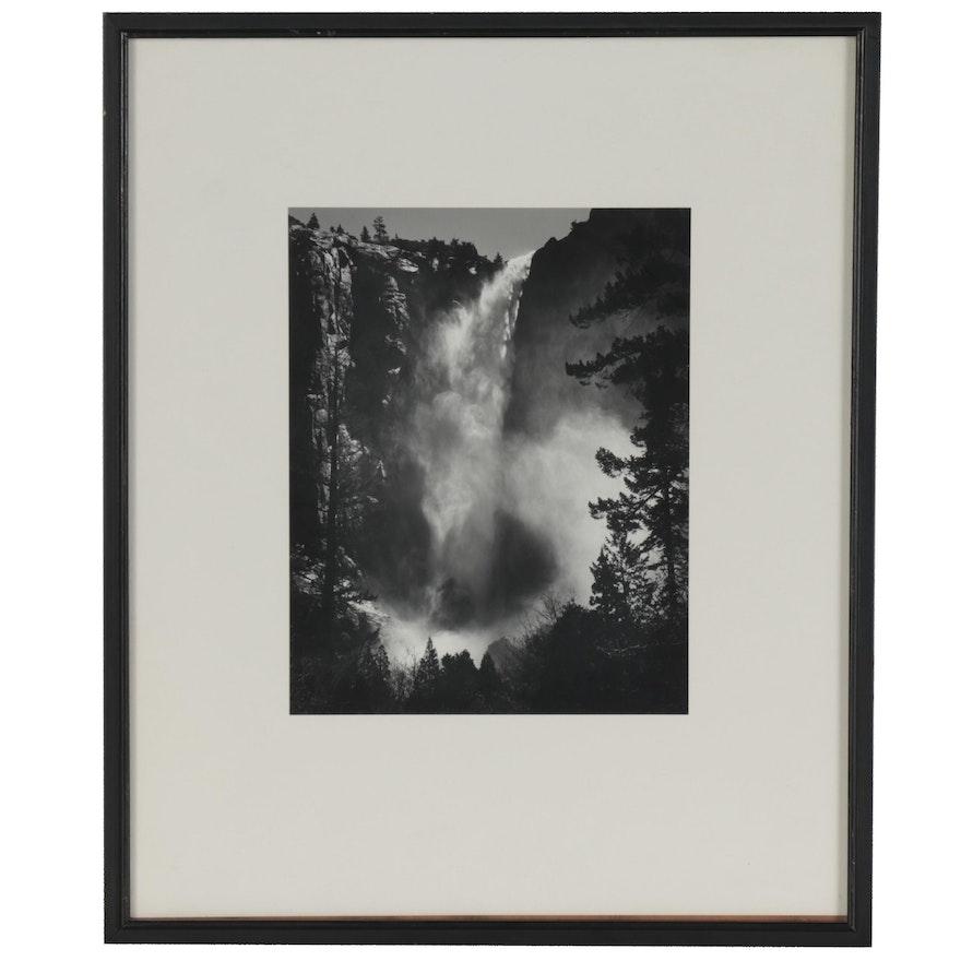 "Ansel Adams Reprint Silver Gelatin Photograph ""Bridalveil Fall"""