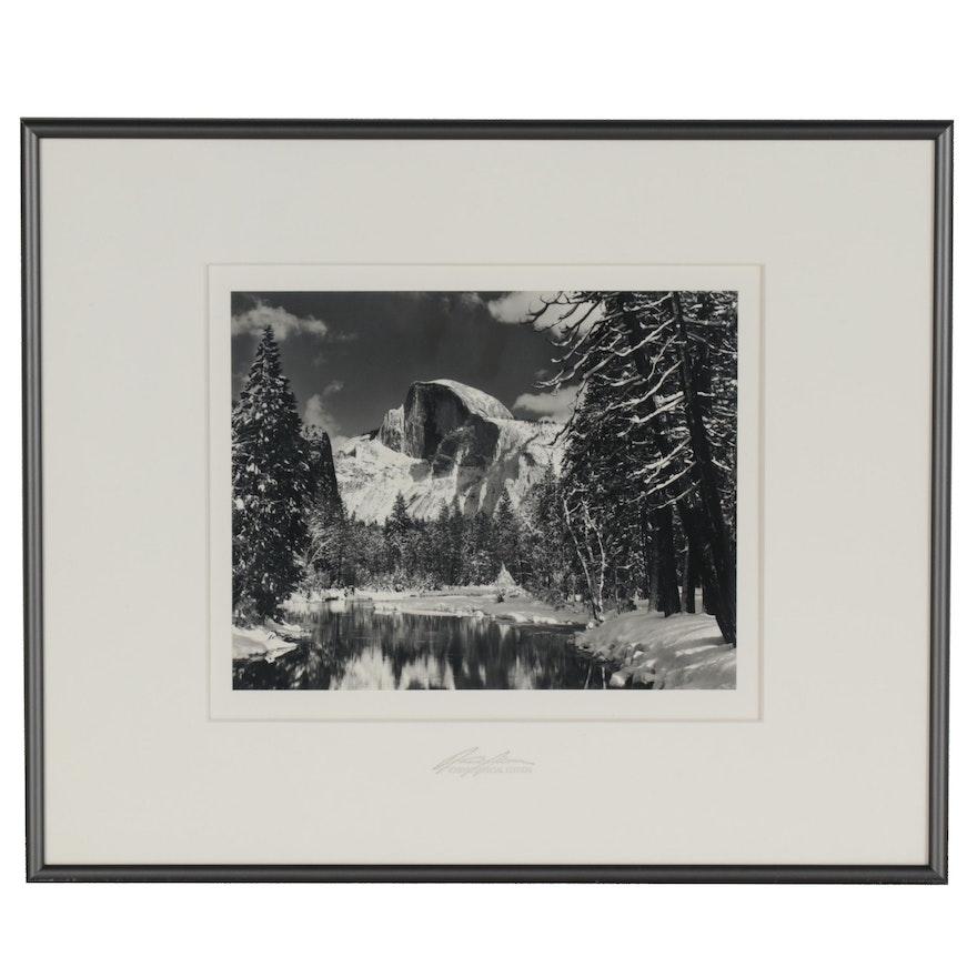 "Ansel Adams Reprint Silver Gelatin Photograph ""Half Dome, Merced River"""