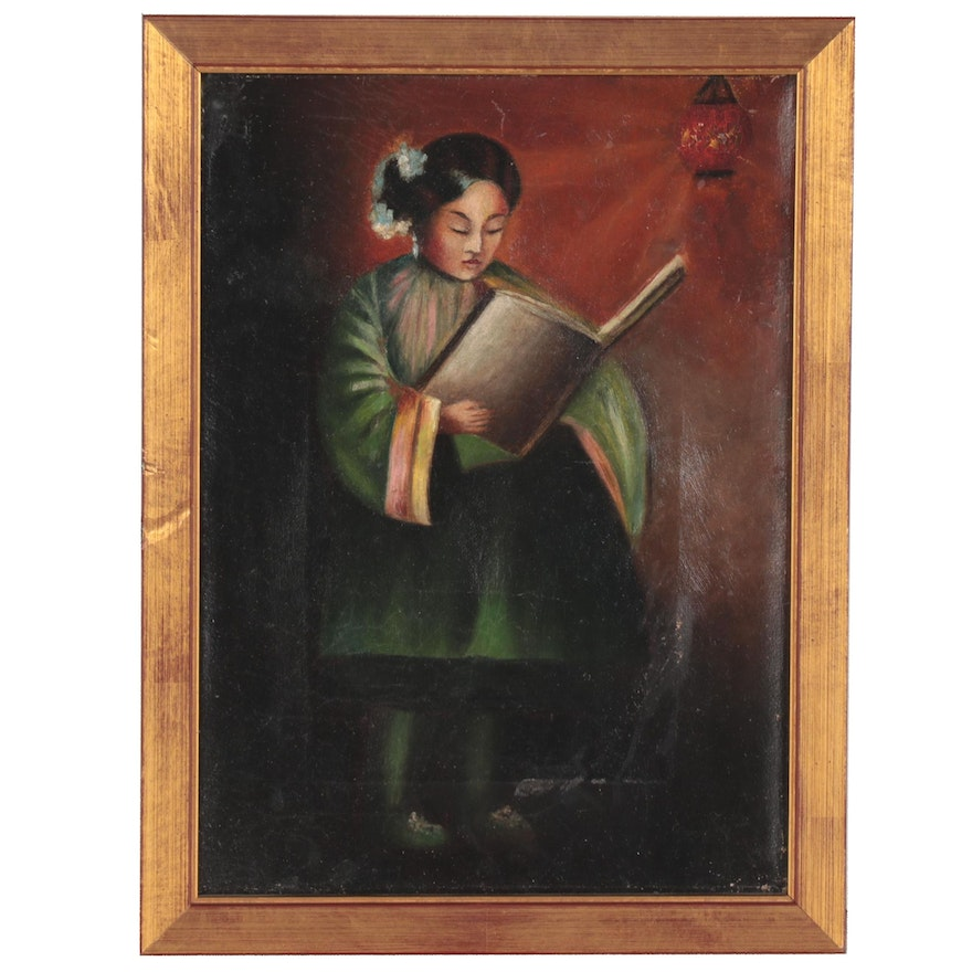 Oil Painting of a Girl Reading a Book