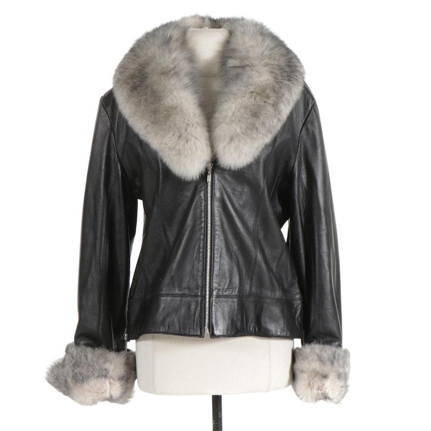 Pellé Collezioni Fox Fur Trimmed Black Leather Jacket