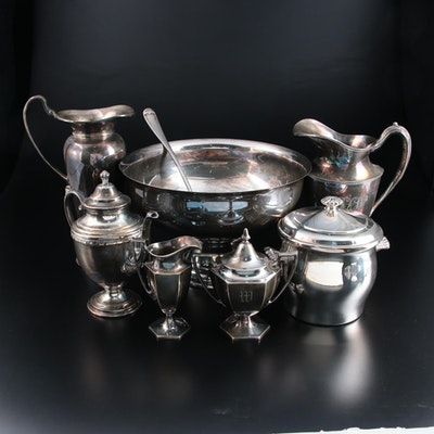 Leonard Silver Plate Punch Bowl and Ladle and Other Silver Plate Tableware