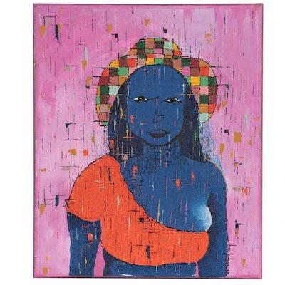"Oluseyi Soyege Acrylic Painting ""Comfort"""