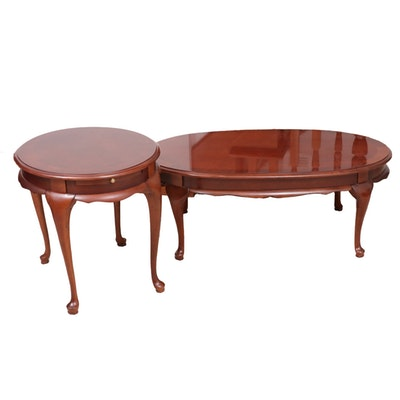 Queen Anne Style Cherrywood Coffee and Side Tables