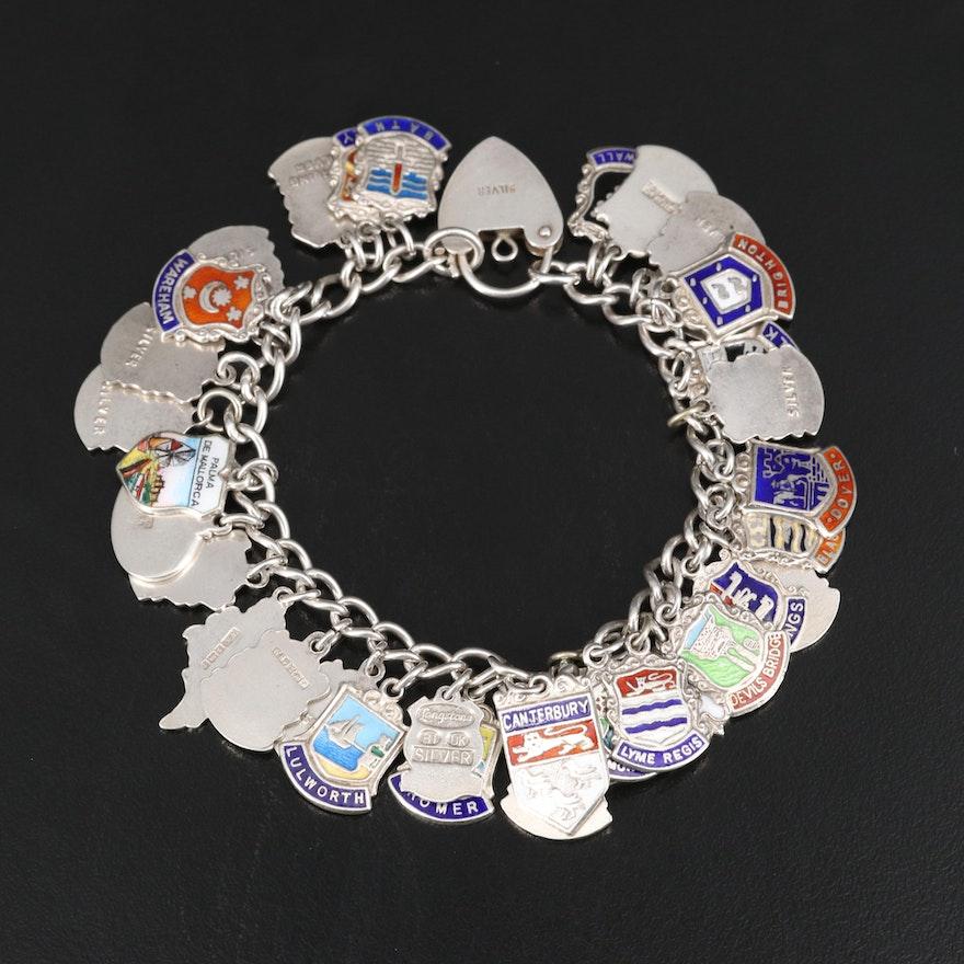 Vintage Sterling Enameled Travel Bracelet with Heart Lock Closure